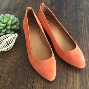Madewell | Orange Suede Flats (Missing Straps)